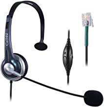 Callez Corded Office Telephone Headset RJ9, with Noise Canceling Mic Mono, for ShoreTel 230 420 480 Polycom VVX310 VVX311 VVX410 VVX411 Avaya 1408 1416 5410 Plantronics NEC Landline Deskphones W300A1