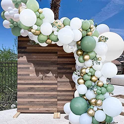 Juego de 162 globos verdes de salvia con globos de látex de oro blanco para niñas y niños, fiesta de cumpleaños, boda, decoración de fiesta de safari en la selva