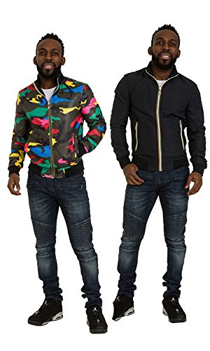 Ryujee Wendbare Marineblaue Bomberjacke Multi-Camo Denim Mode Männer Conor-L