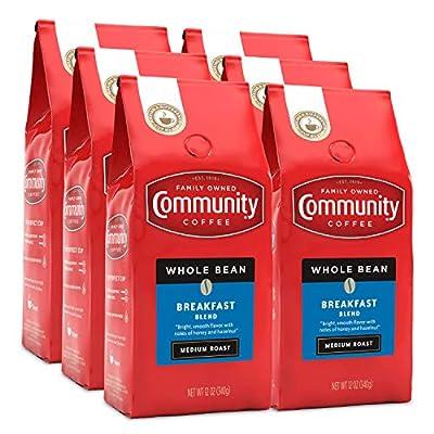 Community Coffee Breakfast Blend Medium Roast Coffee, Whole Bean, 12 Ounce Bag (Pack of 6)