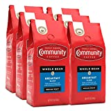 Community Coffee Breakfast Blend Medium Roast Coffee, Whole Bean, 12 Ounce Bag (Pack of 6)