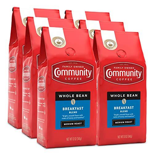Community Coffee Medium Roast Coffee Whole Bean, 12 (Pack of 6), Breakfast Blend, 72 Ounce