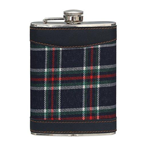 Premier Housewares Tartan Hip Flask, 8 oz - Blue