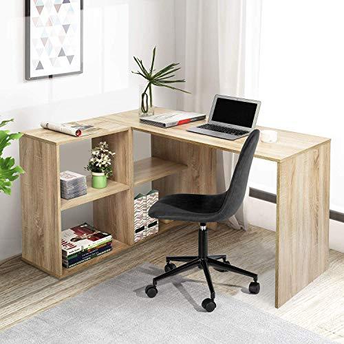 HOMEMAKE FURNITURE Escritorio de computadora en forma de L con estantería, utilizado para la oficina de la empresa, la oficina en casa, la escritura de estudiantes, el estudio y...