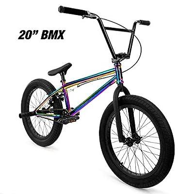 "Elite 20"" & 18"" BMX Bicycle Destro Model Freestyle Bike - 4 Piece Cr-MO Handlebar (20"" Neo Chrome)"