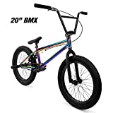"Elite 20' & 18"" BMX Bicycle Destro Model Freestyle Bike - 4 Piece Cr-MO Handlebar (20' Neo Chrome)"