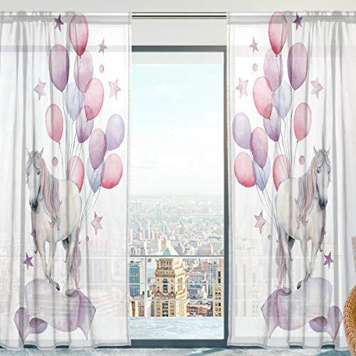 Mnsruu Cortinas de gasa transparente, diseño de unicornio con globos, para dormitorio, 140 x 198 cm, 2 paneles