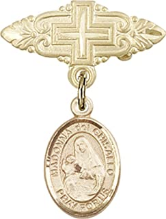 Jewels Obsession Baby Badge with St. Madonna Del Ghisallo Charm and Badge Pin with Cross | 14K Gold Baby Badge with St. Madonna Del Ghisallo Charm and Badge Pin with Cross - Made In USA