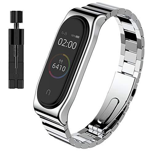 AHANGA Kompatibel mit für Xiaomi Mi Band 4 Armband, Mi Band 3 Ersatzband mit Entfernungswerkzeug Wasserdicht Metall Edelstahl Gliederarmband Replacement Wrist Strap Band Erweiterbar Uhrenarmband