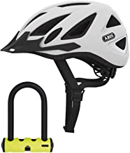 ABUS Urban-I Ventilated Bike Helmet with Integrated LED Taillight and U-Lock Bundle (Medium, Polar Matte White) CPSC Certified, 180 Degree Light Visibility for Safe City Cycling (2 Items)