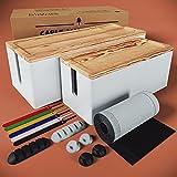 Nature Supplies 2 Cajas para Organizar Cables Hecha en Madera de Pino - 1 Caja Organizadora Mediana para Escritorio, 1 Organizador Grande para Piso (Blanco)