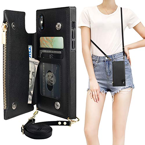 Bocasal Crossbody Wallet Case for iPhone X Xs with Card Holder,Zipper Card Slot Protector Shockproof Purse Cover with Removable Cross Body Strap 5.8 Inch(Black)