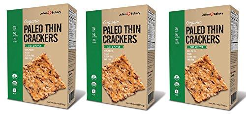 Julian Bakery® Paleo Thin® Crackers | Salt & Pepper | USDA Organic | Gluten-Free | Grain-Free | GMO Free | Low Carb | 3 Pack