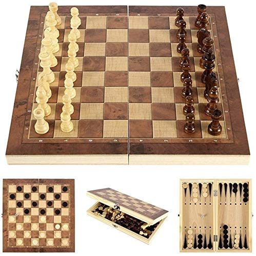 Lixada Juego de Ajedrez de Madera Plegable 3 en 1 Tablero de Ajedrez de Madera Juego de Damas Juego de Backgammon Juego de Ajedrez