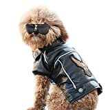Pu Leather Motorcycle Jacket, Dog Puppy Pet Clothes Leather Jacket, Waterproof (S)