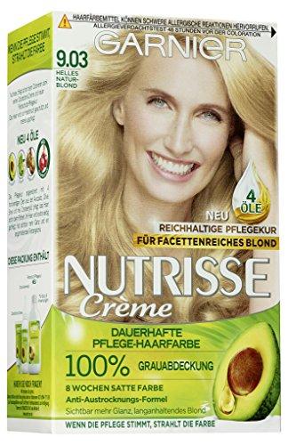 Garnier Nutrisse Creme 9.03 Helles Naturblond, Dauerhafte Haarfarbe mit Olivenöl und Avocadoöl, Haarfarbe blond (3 Stück)