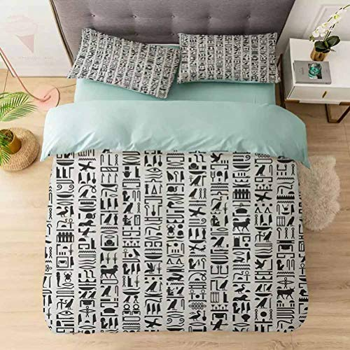 Aishare Store 3 Pieces Duvet Cover Set, Ancient Egyptian Hieroglyphic Writing Monochrome Composition Old Signs S, Printed Duvet Cover Set with Ultra-Soft Microfiber, Black White