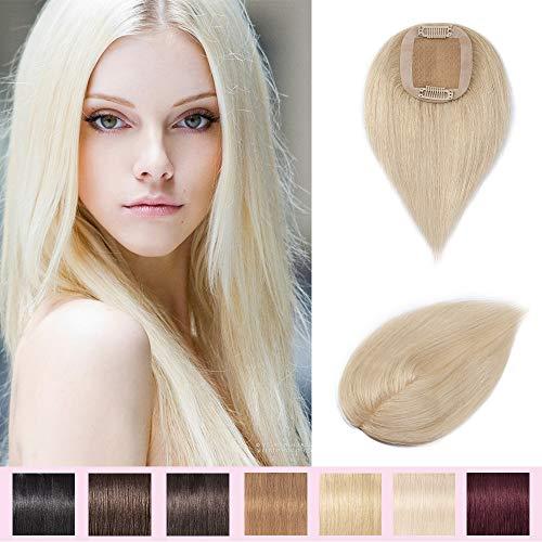 Silk-co Toupet Frauen 100% Remy Extensions Echthaar Mono Spitze Toupets Clip in gratis Teil - #60 Platin-Blondine 20g 25cm