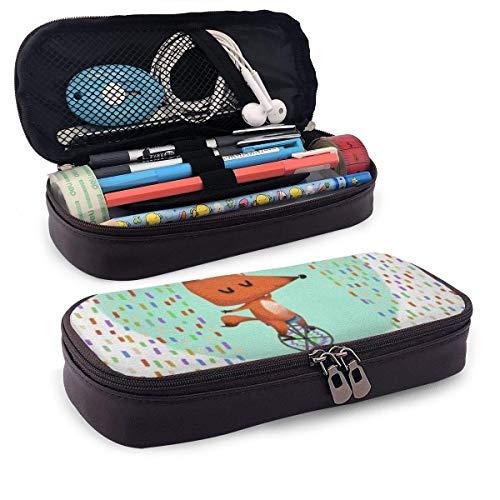 Mäppchen,Storage Bag,Pvc Pencil Case,Make-Up-Tasche,Federmappe,Fox Ride Ein Einrad Pu Leder Bleistift Stift Tasche Beutel Tasche Halter