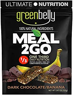 Greenbelly Backpacking Meals - Backpacking Food, Appalachian Trail Food Bars, Ultralight, Non-Cook, High-Calorie, Gluten-Free, Ready-to-Eat, All Natural Meal Bars (Dark Chocolate, 32 Meals)