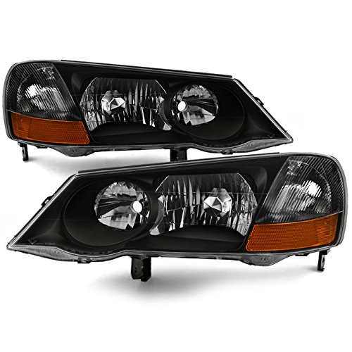 For 2002 2003 Acura TL Chrome Housing D2R Xenon Type Headlights Front Lamps Repalcement Pair
