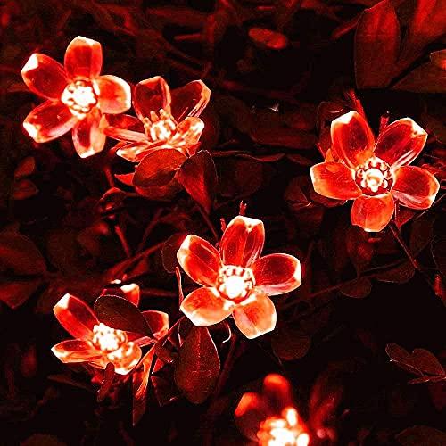 Luces de flor de flor solar, 5 M 20LED Luces solares al aire libre de la secuencia de la flor Luces solares de la secuencia de la Navidad de hadas con 8 modos a prueba de agua para jardín (rojo)