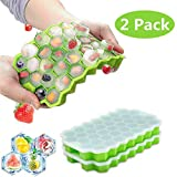 Ice Cube Trays with Lids 2 Pack,Silicone Mini Ice Cube Trays, Flexible 74-Ice Trays Ice TraysFor Freezer BPA Free (Green-2Pack)