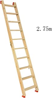 CAIJUN Ladder Multifunction Household Thicken Solid Wood Foldable Portable Safety Herringbone Ladder, 8 Sizes Dual-use (Color : Wood Color, Size : Full Length 2.75m)