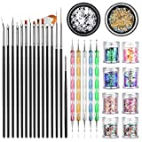 JOYJULY Professional Nail Art Supplies with 15pcs Brush Set, 5pcs Dotting Pen, 2pcs 3D nail diamonds rhinestones Kit, 8pcs Chunky Glitter Sequins for Nail Art/Body Glitter/Cosmetic Face/Hair