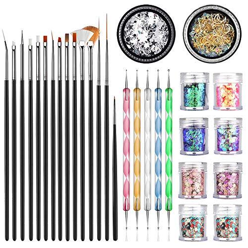 JOYJULY Suministros de uñas con juego de pinceles de 15 piezas, bolígrafo de 5 piezas, kit de diamantes de imitación 3D de 2 piezas, lentejuelas brillantes de 8 piezas para uñas