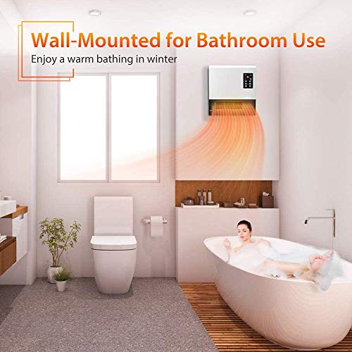 Electric Heater - with Standing Base, 1500W Wall Mounted Space Heater, Energy Saving, Timer Function, 3 Modes, Quick Heat Electric Space Heater, Room Heater for Bedroom, Bathroom, Living Room