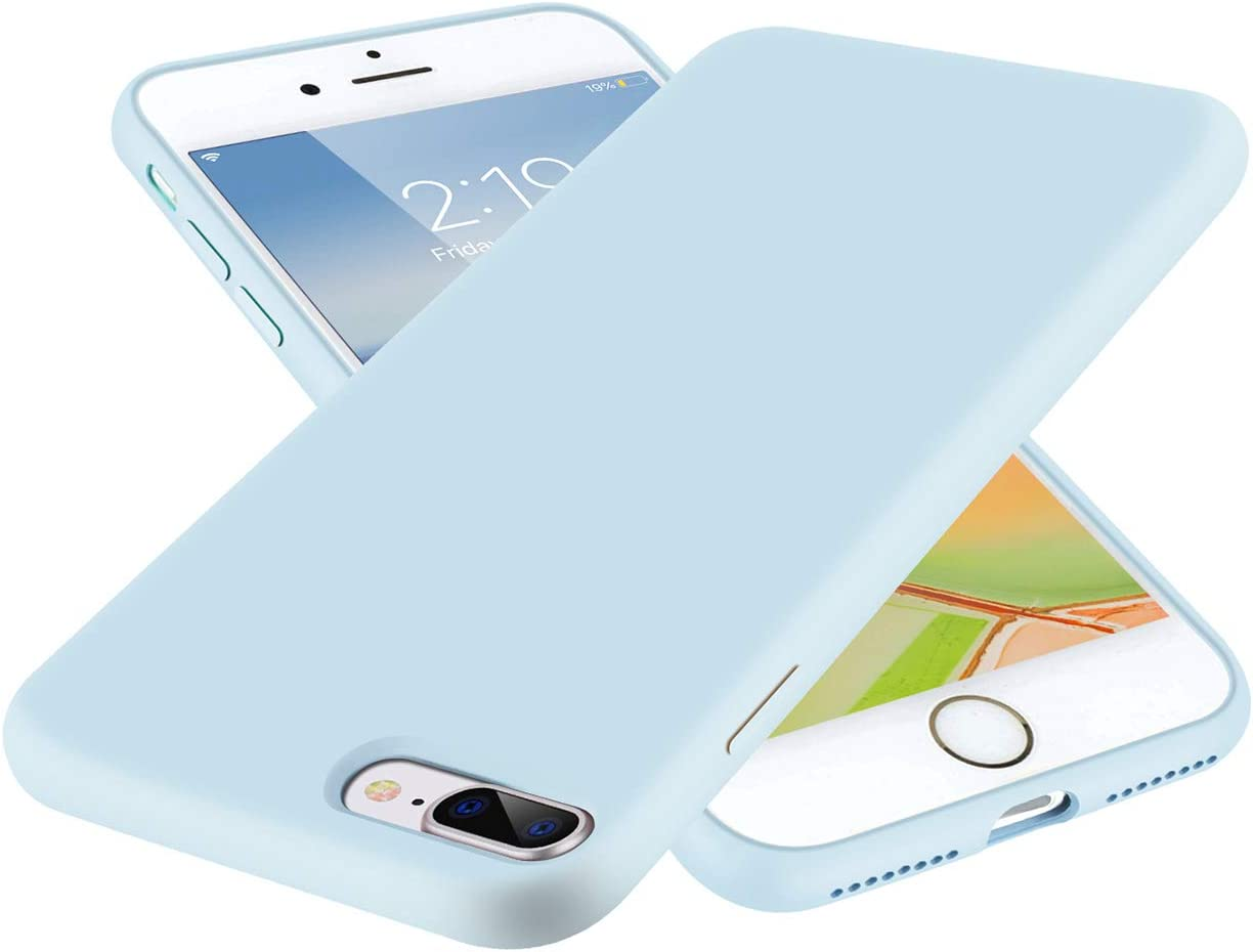 SYMOO Case for iPhone 8 Plus and iPhone 7 Plus,Liquid Silicone Case,Full Body Protection Shockproof Cover Case Drop Protection Case for Apple iPhone 8 Plus / 7 Plus 5.5 inch (Light Blue)