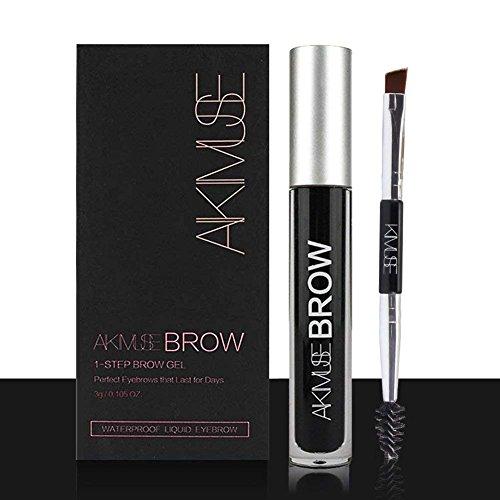 Sourcils Gel,ROMANTIC BEAR Waterproof Longue Durée Crayon de Maquillage Eyebrow Colors Gel With Brush Set,Anti-décoloration (Jet noir)