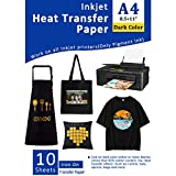 10 Papiers Transferts T shirt/Papier Transfert Thermique/Transfer Jet d'encre papier pour tissus foncés et noirs A4