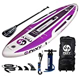 "NIXY Newport Paddle Board All Around Inflatable SUP 10'6' x 33"" x 6"" Ultra-Light Stand Up Paddleboard Built with Dual Layer Dropstitch Includes Paddle, Leash, Pump, Shoulder Strap, and Bag"