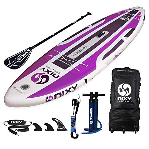 "NIXY Newport Paddle Board All Around Inflatable SUP 10'6"" x 33"" x 6"" Ultra-Light Stand Up Paddleboard Built with Dual Layer Dropstitch Includes Paddle, Leash, Pump, Shoulder Strap, and Bag (Purple)"
