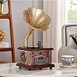 ZSMLB Giradischi, Giradischi retrò Giradischi, Altoparlanti Wireless, fonografo Vintage Legno per Ufficio/Arredamento, Oro Champagne