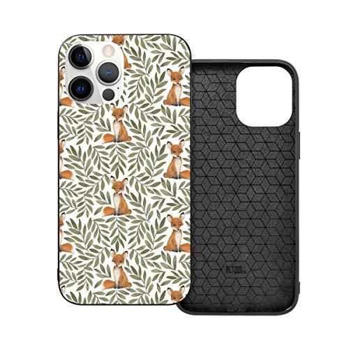 Funda de protección compatible con iPhone 12 / iPhone 12 Pro Small Fox and Leaves Phone Case Funda de silicona suave TPU