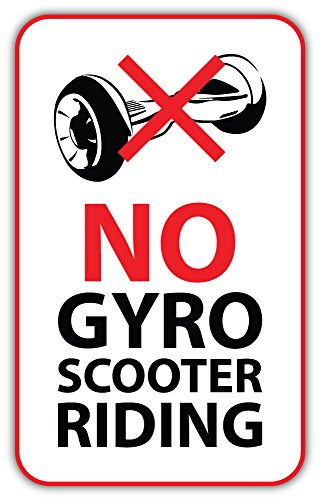 No Gyroscooter Riding Sign Bumper Sticker Vinyl Art Decal for Car Truck Van Wall Window (16 X 24 cm)
