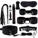 JEKEE 11 Pcs Lingerie Plush Nylon PU Leather BSDM Toys for Couples Sets Women...