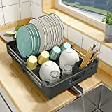 Dish Drying Rack, Kitchen Dish Drainer Rack, Expandable(13.2'-19.7') Stainless Steel Sink Organizer Dish Rack and Drainboard Set with Utensil Holder Cups Holder for Kitchen Counter