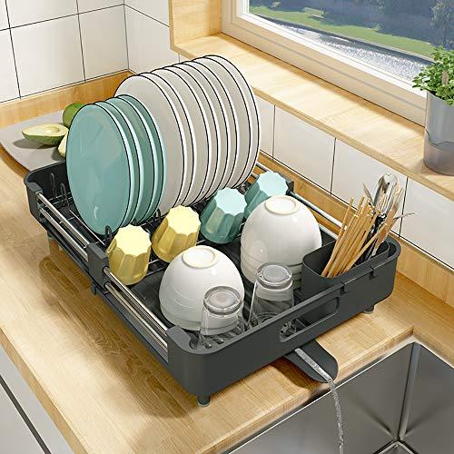 Estante para secar platos, escurridor de platos de cocina, expandible (33,5 - 50 cm), acero inoxidable organizador de platos y escurridor con soporte para utensilios de cocina