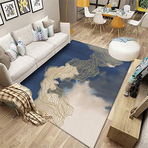 Alfombras Habitacion Bebe Azul alfombras Oficina Pintura de Paisaje Dorada, Sala de Estar, Dormitorio, Cocina, sofá, cómoda luz, Lujo, Rectangular, Alfombra Simple alfombras a Medida Online 40X60cm