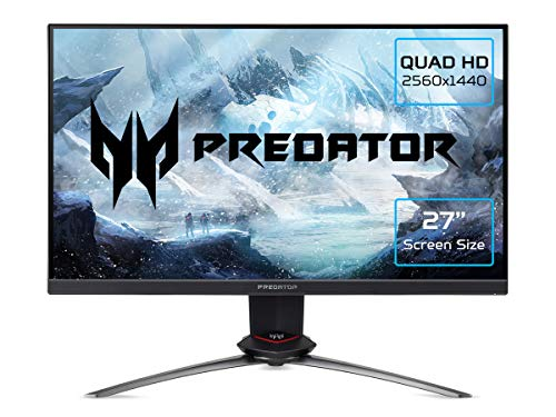 Acer Predator XB273UGXbmiipruzx 27 inch Quad HD Gaming Monitor (IPS Panel, G-SYNC Compatible, 270Hz (OC), 1ms, HDR 400, Quantum Dot, Height Adjustable Stand, DP, HDMI, USB Hub, Black/Grey)
