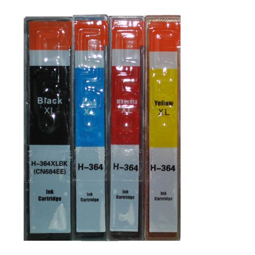 4 x cartridges incl. chip en niveau-indicator vervangen HP 364 XL