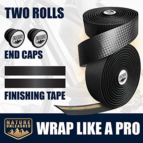 Handlebar Tape - Road Bike Bar Wraps for Handles with End Caps and Finishing Tape - Set of Two Bicycle Handle Grips - Best for Absorbing Road Shock