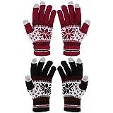 Gitua 2 Paar Touchscreen Handschuhe, Damen Winterhandschuhe Winddichte Strick Fäustlinge Handschuhe für Skifahren Radfahren Wandern