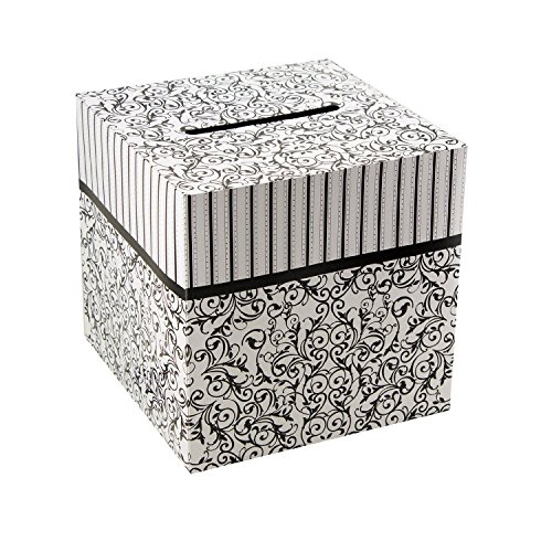 "Ifavor123 Cardboard Black and White 10"" X 10"" Wedding Birthday Party Gift Money Card Box"