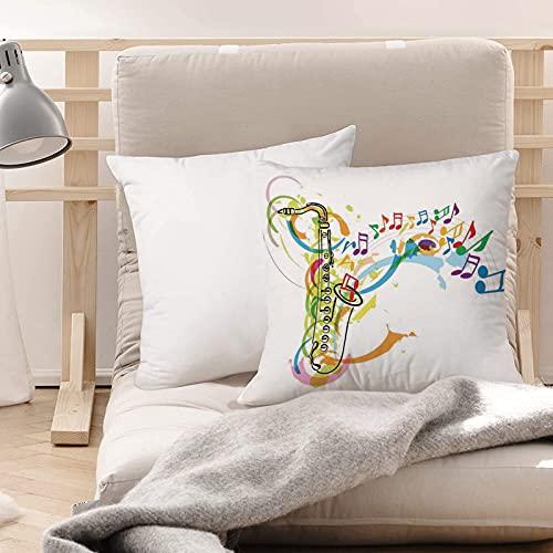 Funda de Cojines Suave Poliéster,Jazz Music Decor, Ilustración en color del saxofón con not,Funda de Almohada Cremallera Oculta Duradero Decoración para Sofá Cama Dormitorio Aire Libre Oficina 45x45cm