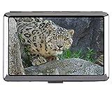 Simpatico astuccio per sigarette o in acciaio inossidabile (taglia King), scatola di sigarette per il trasporto della tasca del leopardo della famiglia del gatto leopardo delle nevi